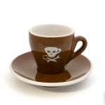 2.5 OZ Demitasse Cup & Saucer White and Brown with Skull Art - Tulip Shape