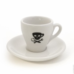 2.5 OZ Demitasse Cup & Saucer in White with Skull Art - Tulip Shape